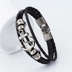 Endless August Pirate Style Alloy Stainless Steel Anchor Bracelet For Men Genuine Cow Leather Bracelet Jewelry Bangles