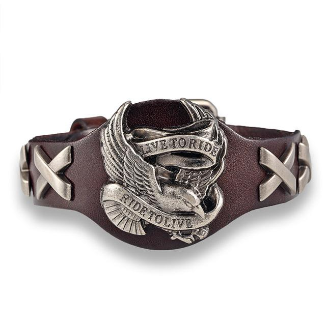 Endless Ride To Live Bracelet - Genuine Leather