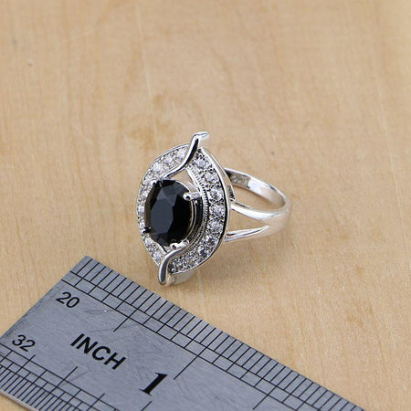 Eye 925 Sterling Silver Jewelry Black Birthstone White CZ Women Earrings Pendant Necklace Rings Bracelet