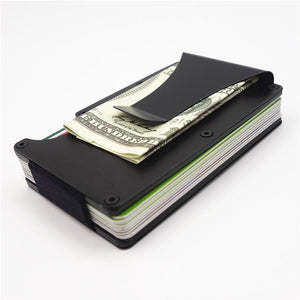 Fashion Slim Metal Credit Card Holder With RFID Anti-chief Travel Mini Wallet Porte Carte Male Wallet