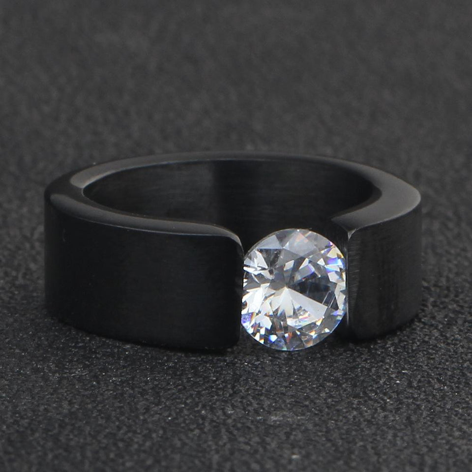 Fashion Stainless Steel Black Ring Jewelry Engagement Promise Ring For Women CZ Stone Rings