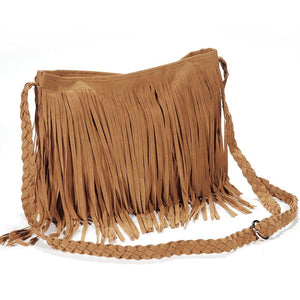 Fashion Women Suede Weave Tassel Shoulder Bag Messenger Bag Fringe Handbags