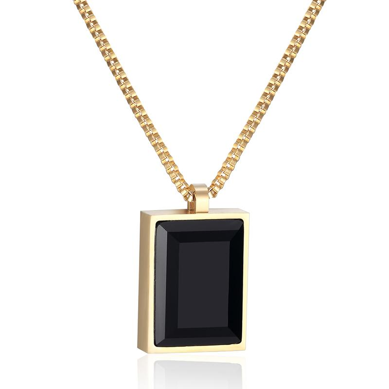 Female Necklace Classic Exquisite Square Big Black Crystal Pendant Fine Jewelry For Women
