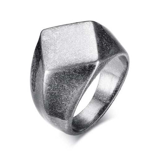 MEN'S BLACK RHOMB-SHAPED STAINLESS STEEL RING - GiftWorldStyle - Luxury Jewelry and Accessories