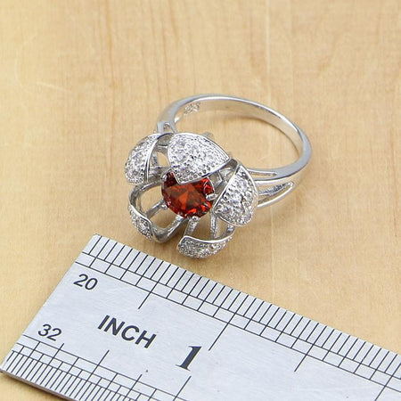 Flower 925 Sterling Silver Jewelry Red Cubic Zirconia White CZ Sets Women Earrings Pendant Necklace Rings Bracelet