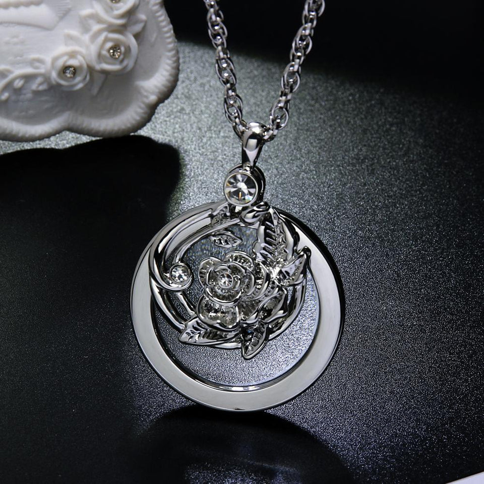 Flower Magnifying Glass Necklace 2 Pcs Parts Moving Pendant With Chain Magnifying Glasses For
