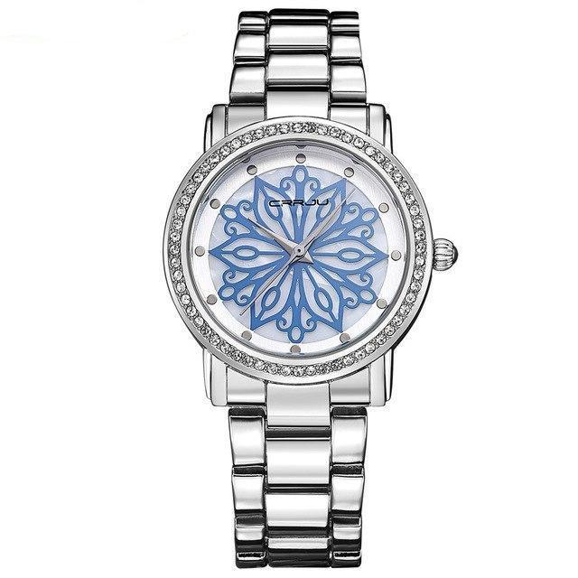 Flower Pattern Analog Quartz Watch With Rhinestones