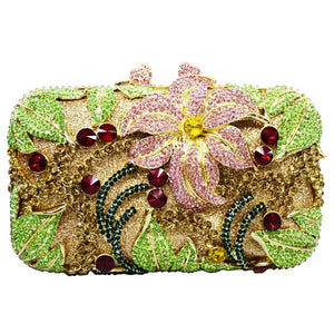 Flower Shape Studded Diamond Clutch Bag - Luxury Crystal Evening Bag - GiftWorldStyle - Luxury Jewelry and Accessories
