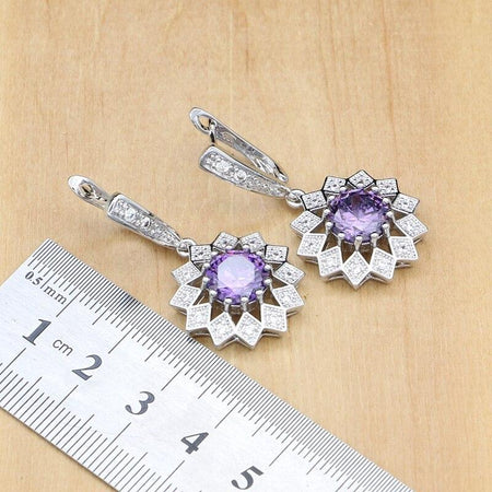 Flower Shaped Jewelry Sets Purple CZ White Crystal Silver 925 Women Earrings Pendant Rings Bracelet Necklace Set