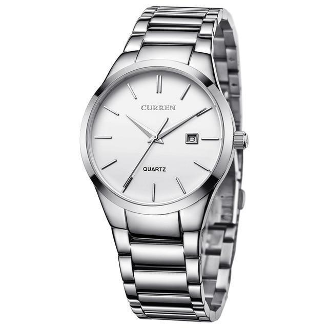 Full Stainless Steel Business Quartz Watch With Date - GiftWorldStyle - Luxury Jewelry and Accessories
