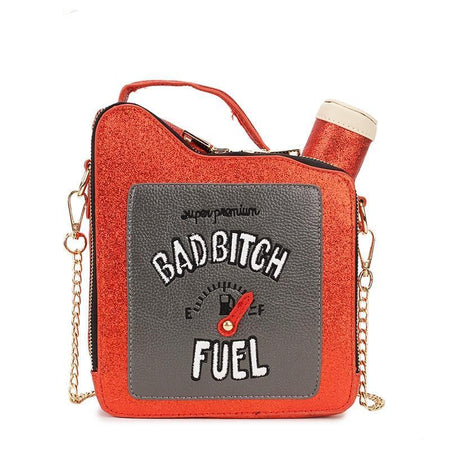 Fun Embroidery Letters Gasoline Bottle Shape Chain Purse Handbag Shoulder Ladies Purse Bag Flap