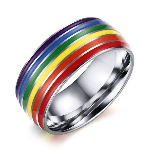 Gay Pride Engagement Ring 8mm - Stainless Steel