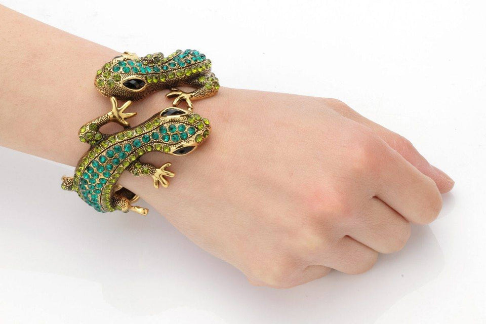 Gecko Bangle Bracelet Antique Gold Silver Color Animal Bling Crystal Jewelry Women - GiftWorldStyle - Luxury Jewelry and Accessories