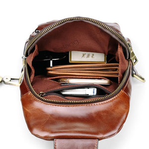 Genuine Leather Cowhide Sling Bag - Men's Cross Body Bags USB Charging