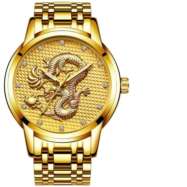 Genuine Leather Quartz Watch With Gold Dragon Sculpture