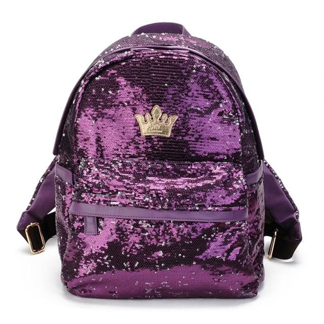 Glitter Sequins Backpack For Women With Crown - GiftWorldStyle - Luxury Jewelry and Accessories