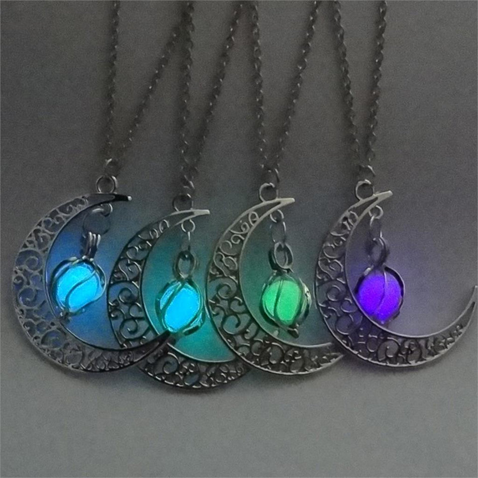 Glowing In The Dark Pendant Necklace Silver Plated Chain Moon Necklaces Night Glow Luminous Necklaces