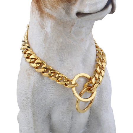 Gold 316L Stainless Steel Dog Chain Cut Cuban Link Collar For Pet Puppy Training Choker
