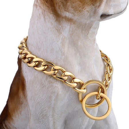 Gold 316L Stainless Steel Dog Chain Cut Cuban Link Puppy Training Choker Collar For Pet