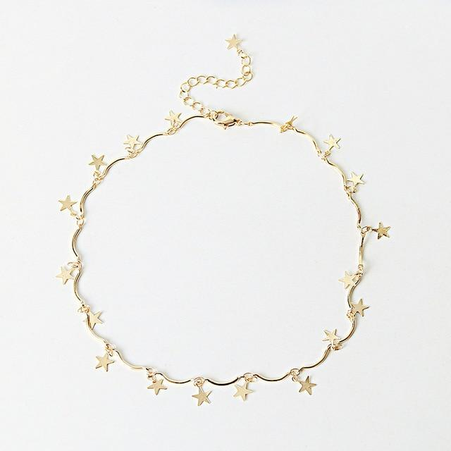Gold Color Chain Tiny Star Choker Necklace Women  Pendants Simple Layering Chokers