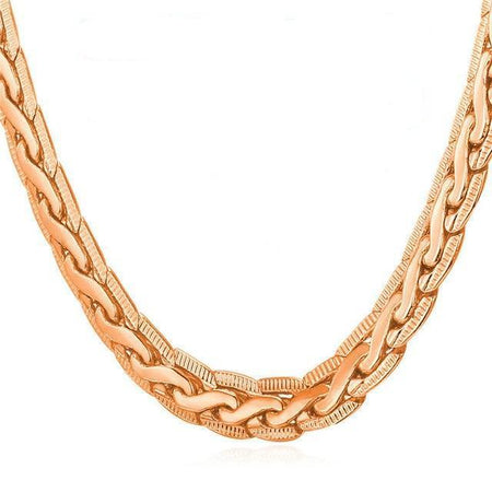 Gold Color Men Jewelry Necklace Unique Design Trendy 6 MM 55 CM Snake Chain Necklace
