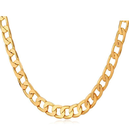 Gold Color Necklaces For Men Jewelry 5MM Trendy Fashion Link Chain Necklaces