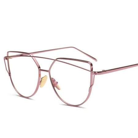 Gold Metal Frame Eyeglasses For Women Female Vintage Glasses Clear Lens Optical - GiftWorldStyle - Luxury Jewelry and Accessories