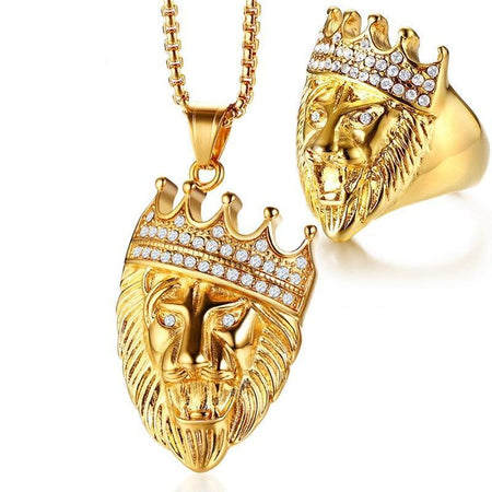 Gold Tone Lion Head Jewelry Sets For Men Rock Punk Stainless Steel Ring And Necklaces Accessories Male