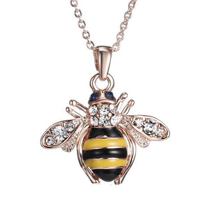 Golden Bee Pendant Necklace - Crystal
