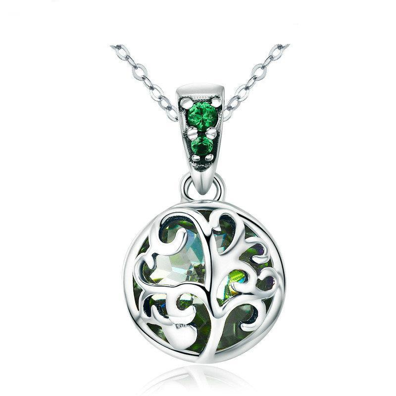 Green Crystal Tree Of Life Pendant Necklace - Sterling Silver
