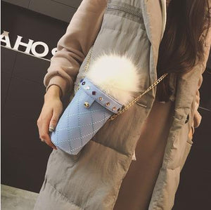 Hair Ball Ice Cream Shape Pu Leather Women's Chain Purse Shoulder Tote Ladies Crossbody