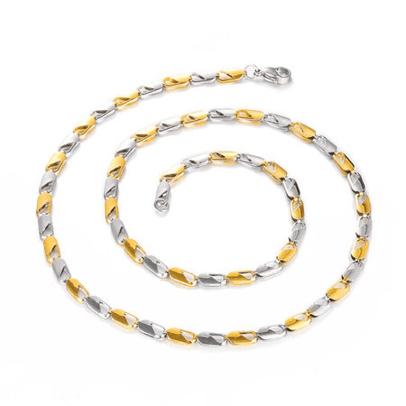 Handmade Two Tone Gold Color Titanium Stainless Steel 55CM Link Chain Necklaces