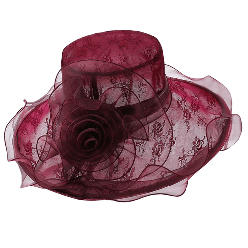 Floral Organza Fedora Hat With Wide Brim For Women - GiftWorldStyle - Luxury Jewelry and Accessories