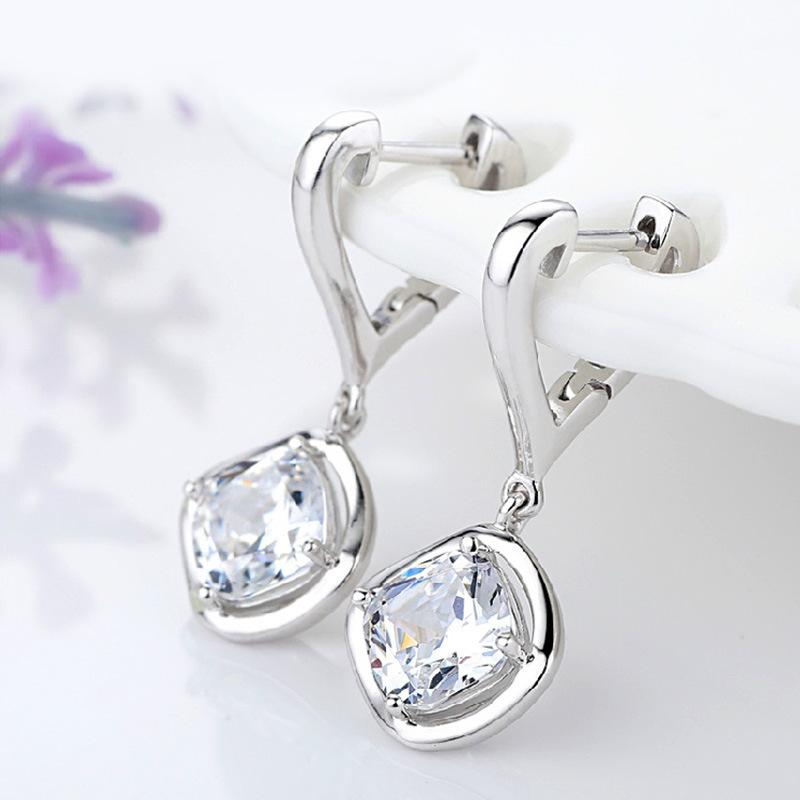 Heart Stud Earrings - 925 Sterling Silver, AAA Flash Crystals