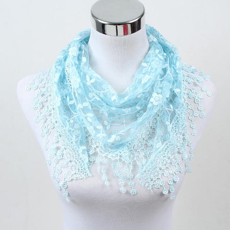 Triangle Lace Scarf For Women With Rose Floral,Fringe - GiftWorldStyle - Luxury Jewelry and Accessories