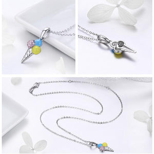 Ice Cream Pendant Necklace For Women - Sterling Silver
