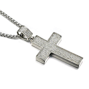 Iced Out Silver Color Cross Necklace Stainless Steel Full Paving Crucifix Pendants Jewelry