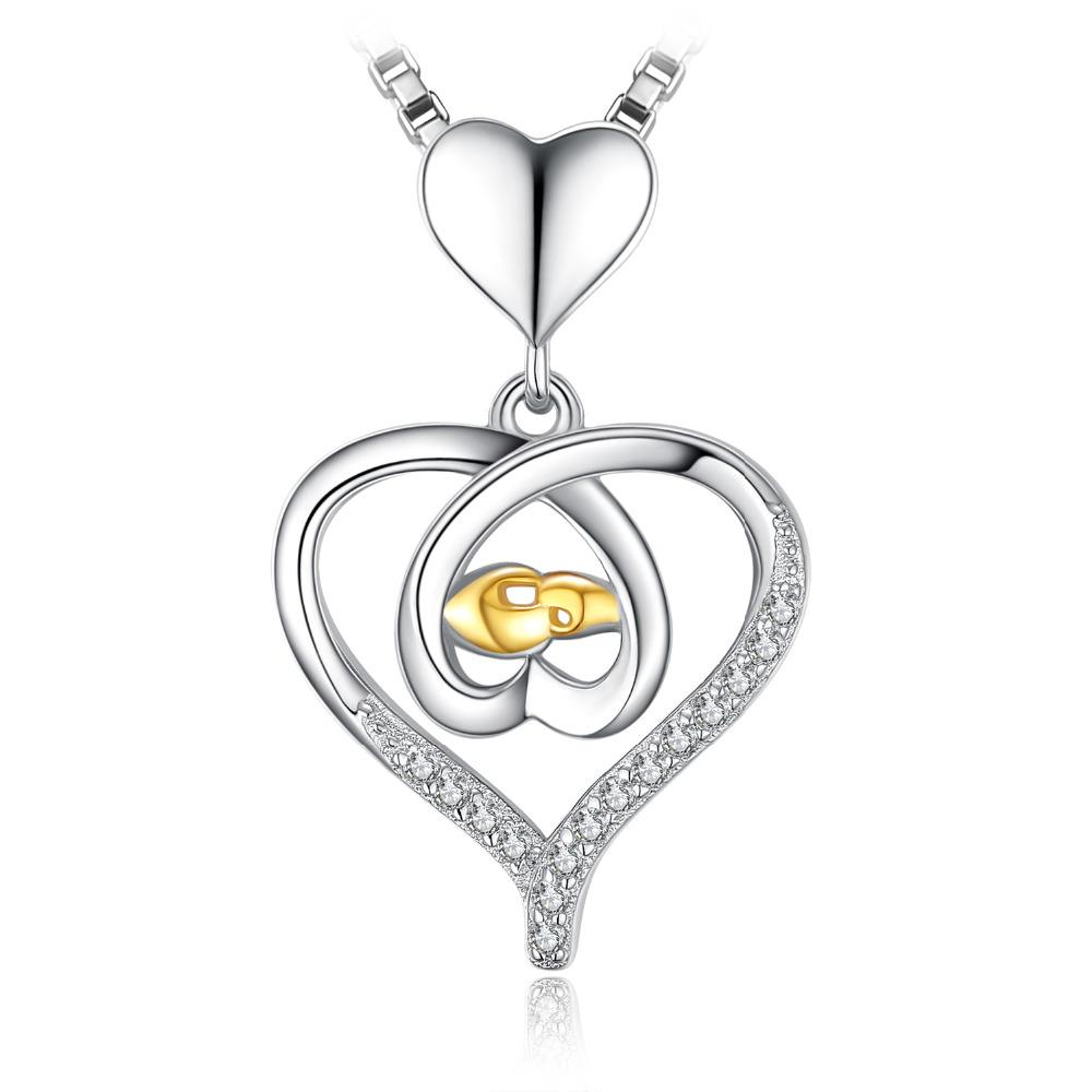 Interlock Heart Hand To Hand Cubic Zirconia Pendant 925 Sterling Silver Rose Gold For Women Jewelry