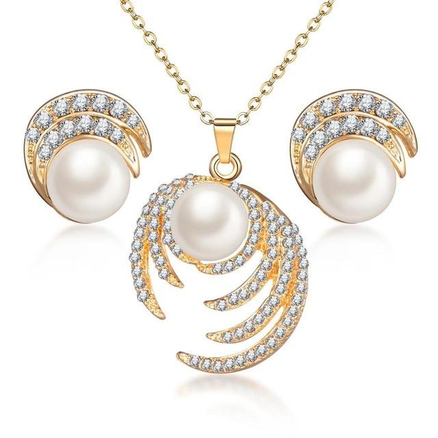 Jewelry Sets Gold Silver Plated Chain Pendant Necklace Stud Earrings For Women Pearl Crystal Jewelry - GiftWorldStyle - Luxury Jewelry and Accessories