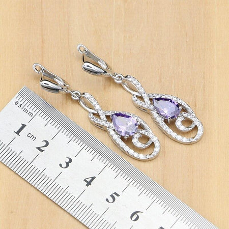 Jewelry Sets Natural Purple Cubic Zirconia Silver 925 Women Anniversary Earrings Europeans Necklace