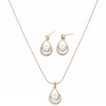 Jewely Set Rhinestone Pearl Pendants  Necklaces Jewelry 2 Pc Set