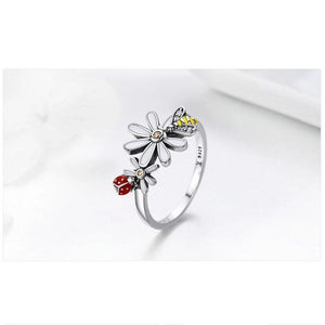 Ladybug Bee in Daisy Rings For Women - Sterling Silver - GiftWorldStyle - Luxury Jewelry and Accessories