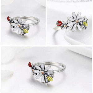 Ladybug Bee In Daisy Rings For Women - Sterling Silver