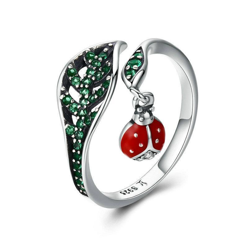 Ladybug In Leaves Green CZ Adjustable Rings - Sterling Silver