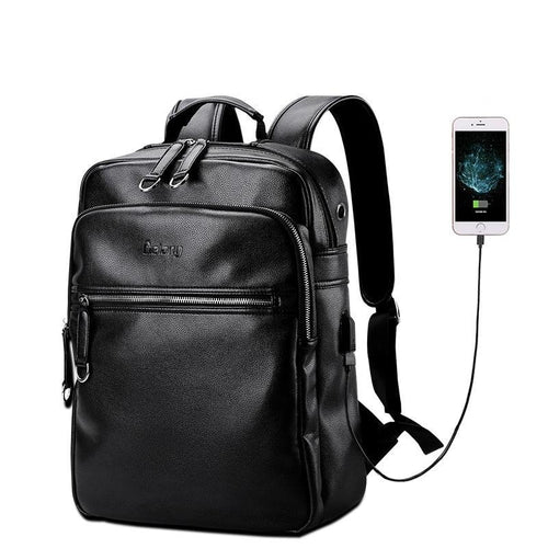 Leather Backpack Men External USB Charge Laptop Bag 15.6Inch Waterproof Computer
