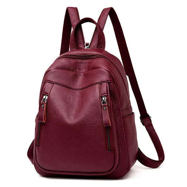 Leather Backpack Woman Female Chest Bag Large Capacity School Bag