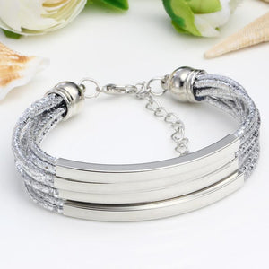 Leather Bracelet With Vintage Silver DIY Bangle And Easy-Hook - GiftWorldStyle - Luxury Jewelry and Accessories