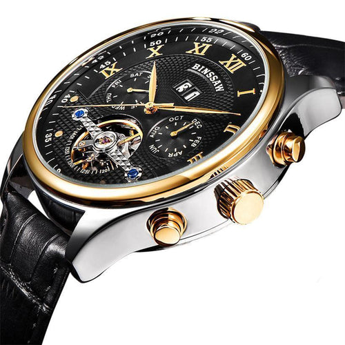 Leather Tourbillon Watch Automatic Men Wristwatch Mechanical Steel Watches - GiftWorldStyle - Luxury Jewelry and Accessories