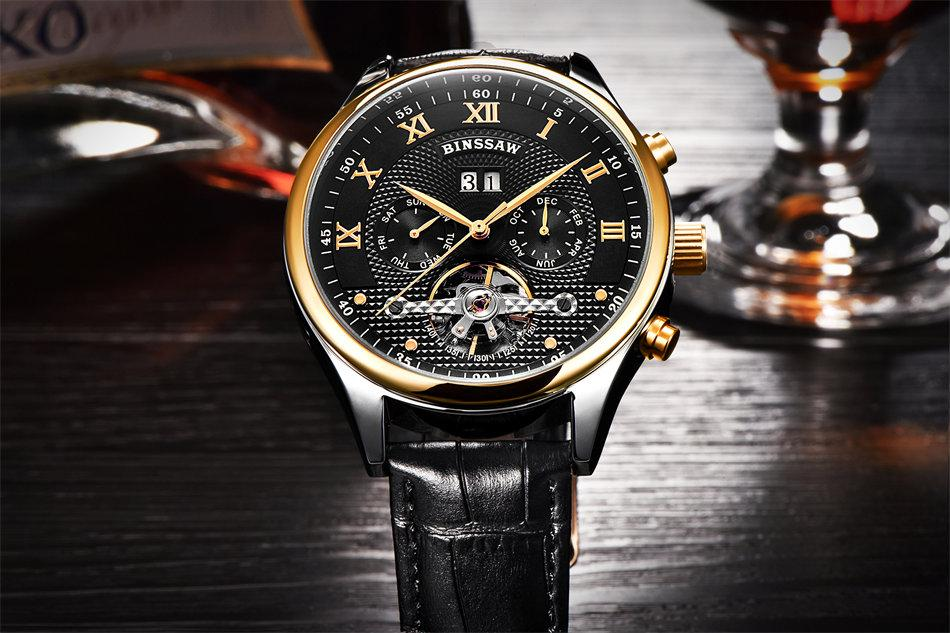 Leather Tourbillon Watch Automatic Men Wristwatch Mechanical Steel Watches