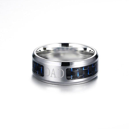 Love For Dad Ring With Blue Carbon Fiber 8MM - Stainless Steel